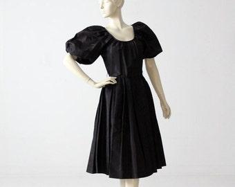 SALE vintage 60s party dress, black taffeta dress with puff sleeve