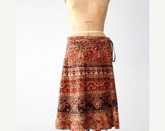 SALE vintage wrap skirt, elephant block print skirt