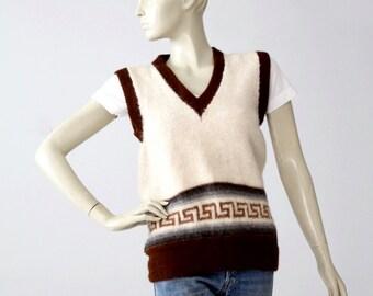 1970s alpaca sweater vest, v-neck sleeveless knit top