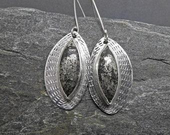 Large Modern Earrings, Black Pyrite in Agate, Sparkling Pyrite Gemstones, Handmade Earrings, Black and Silver, Recycled Sterling Silver