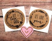 Let Love Grow Stickers, Wedding Labels, Love Stickers, Floral Wreath