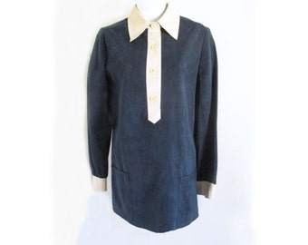 1960s MOD faux suede navy mini dress with creme collar and cuffs, and front pockets / Carnaby Street / Twiggy