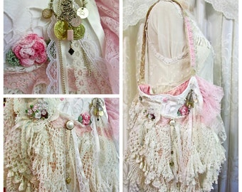 Shabby Victorian Bag, uniquely handmade OOAK romantic lace bag, layers laces doilies beads buttons ribbons, pink shabby chic fabric bag
