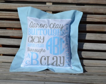 Light Blue Personalized Pillow - Monogrammed Pillow - Nursery
