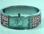 Vintage STRADA Pink Austrian Crystal Japanese Movement Watch