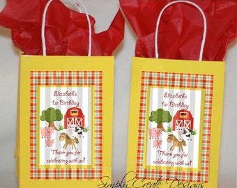 SALE Farm Animal Party Favor Tag DIGITAL 4x6 JPEG file Personalized