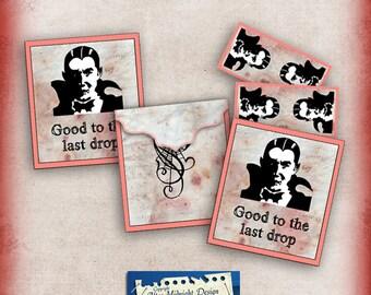 Halloween, printable Tea bag envelopes Blood INSTANT DOWNLOAD Digital Collage Sheet