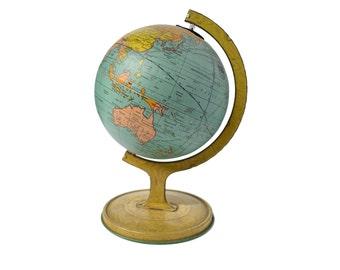 Antique 1920's J. Chein Small Tin Globe, Litho Tin Globe, Mini World Globe