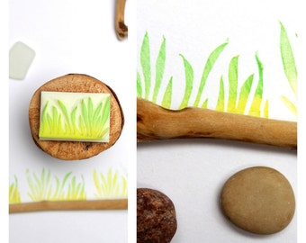 Stamp hand carved  grass