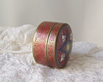 Vintage Cloisonne Enamel Metal Trinket Box Miniature Box Pill Box Secret Space 1980s