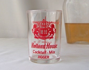 Vintage Holland House Cocktail Mix Jigger Barware Shot Glass Mid Century Modern Mad Men 1950s
