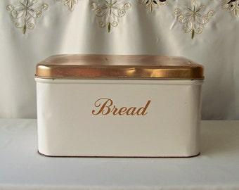 Vintage Metal Bread Box Coppertone Decoware Kitchen Bread Container Retro Kitchen 1960s