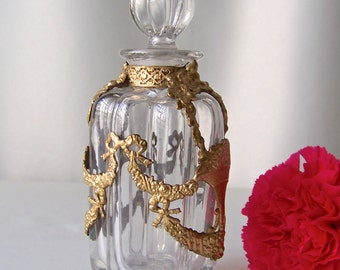 Antique Rococo Glass Perfume Bottle with Gilt Metal Overlay ca 1900