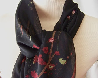 Vintage Scarf Cejon Black Maroon Made In Italy Extra Long Scarf 1980s