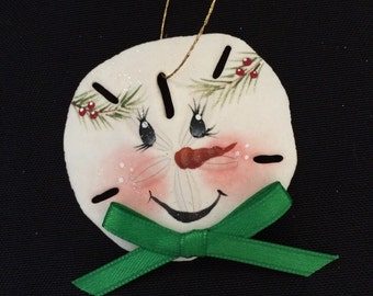 Snowman Sand Dollar Ornament Green, Hand Painted