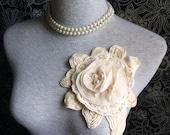 Cotton and Chiffon and Pearl Applique Lace Trim - 1  PCS Beige 3D Flower Applique (A278)