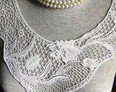 Vintage Applique - 1 pcs Ivory Flower Applique Lace Trim (A287)