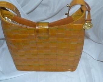 ON SALE Vintage Leather Handbag~Brahmin~ Brahmin Bag~ Made in the USA~British Tan~
