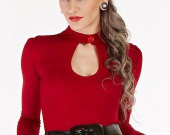Dark Red Long Sleeve Peephole