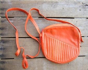 Vintage Orange Leather Crossbody Bag Lasso Made in France
