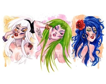 Jem and the Holograms Misfits 80's glam rock inspired Watercolor Art Print Carla Wyzgala Carlations
