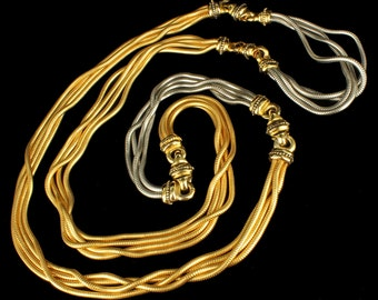 Vintage 2 Toned Silver Tone & Russian Gold Slinky 4 Chain Heavy Necklace 50""