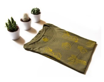 Cotton TEE printed with original hand-carved stamps with CACTI- size SMALL