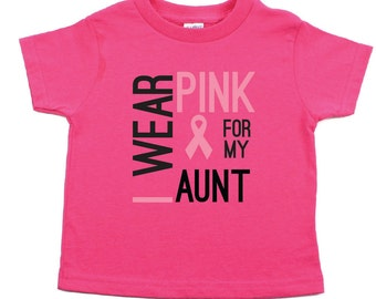 """Breast Cancer Awareness """"I Wear Pink For My Aunt"""" Kids Toddler Short Sleeve T-Shirt, Sizes 2T - 6T"""
