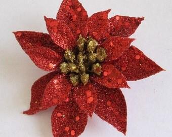 Red,Gold Glitter Poinsettia Christmas Star Flower Hair Clip