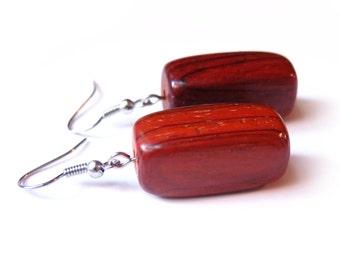 Wood Rectangle Dangle Earrings