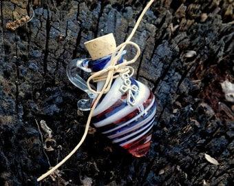 Hand Blown Glass Red, White, Blue Stash/Oil Jar, Metal Cross Charm, Ready to Ship