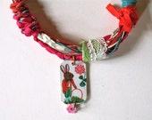 Nathalie Lete Painting Bracelet - Bunny Hippie Chic Bracelet  Assemblage Pendant Finding - Boho Chic - Valentine Day Bracelet - Heart Charms