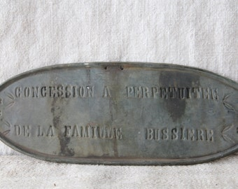 Metal French memorial plaque - hand stamped