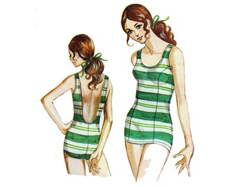 "1960s Women's Bathing Suit Sewing Pattern One-Piece Front Skirt Swimsuit Swimwear Size 14 Bust 38.5"" (98 cm) Kwik Sew 160 S"