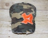 LONGHORNS inspired CAMO TEXAS hat with crystals