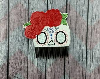 Sugar skull Hair Accessories, hair comb accessory, bun pal, day of the dead, dias de los muertos