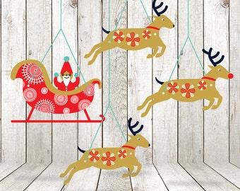 Printable Santa Garland Mobile Christmas DIY Decorations