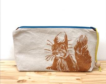 Squirrel birds clutch bag, large pencil case, blue zip, cute clutch, block printing, handmade