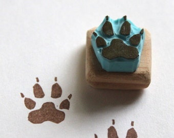 Paw print rubber stamp, hand carved, wood mounted