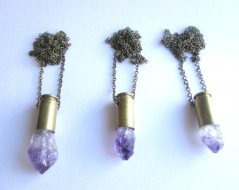 Amethyst Crystal Bullet necklace