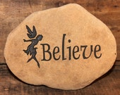 Engraved Natural River Stone - Believe