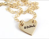 Gold Heart Name Necklace with Cable Chain | Small Girl Necklace in Nu Gold