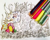 Easter Bunny Eggs Adult Coloring Page Doodle Original Art Kids Fun Design