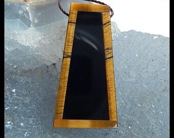 Gemstone Obsidian,Tiger's Eye Intarsia Pendant Bead,31x16x4mm,4.1g