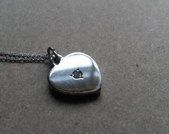 14k White Gold Heart Pendant & Chain 2.9 Grams