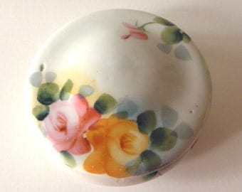 Porcelain Vanity Box with Hand Painted Flowers