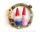 Gnomes in the meadow - Medium Wreath/ Wall hanging - ladybird, bees