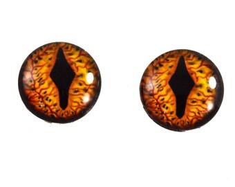 16mm Glass Eyes, Smaug Eyes, Dragon Eyes, Fantasy Eyes, Eye Cabochons, Glass Eyes, Handmade Eyes, Taxidermy Eyes, Doll Eyes, Jewelry Supply