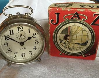 Boxed Jaz Alarm clock, Art Deco, Industrial Loft Decor, 1920s vintage clock, Retro Chrome clock, Silver mechanical clock, original Jaz box,