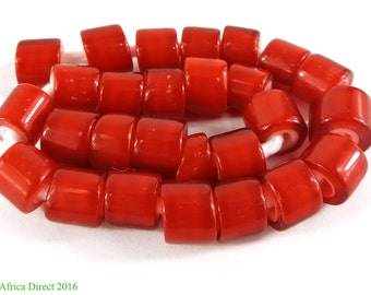Whitehearts Red Trade Beads Flat End Czech Africa 103670